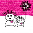 Royalty-Free Stock 矢量图片: Love concept, cartoon couple with background made of hearts