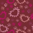 Romantic seamless pattern with hearts and butterflies. — Imagens vectoriais em stock