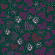 Romantic seamless pattern with hearts and butterflies — Imagens vectoriais em stock