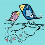 Cartoon birds sitting on the branch — Stock Vector #21236245