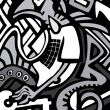 Vector graffiti sketch with dragon - Image vectorielle