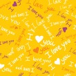 'I love you' seamless pattern with cute hearts and hand-drawn butterflies — Vettoriali Stock