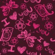 'I love you' seamless pattern with stylized bird, butterfly and flower — Imagen vectorial
