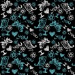 'I love you' seamless pattern with stylized bird, butterfly and flower — Stok Vektör