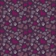 Romantic seamless pattern with hearts, and butterflies — Imagens vectoriais em stock