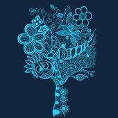 Surreal abstract tree art — Stock Vector