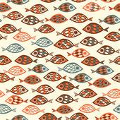 抽象的なスタイルで魚パターン — ストックベクタ
