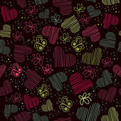 Romantic seamless pattern with hearts, and butterflies — Vecteur