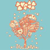 Stylizowane psychodeliczny drzewo pod deszcz serc — Wektor stockowy