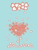 Stiliserade psykedeliska träd under hjärtan regn — Stockvektor