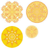 Stylized sun, ornamental round pattern. Set of four ornament lace. — Stock Vector