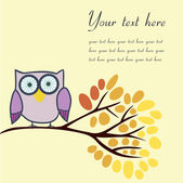 Owl on an autumn branch with place for your text. — Stock Vector