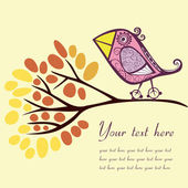 Bird on an autumn branch with place for your text. — Stock Vector