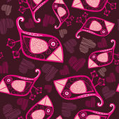 Vector seamless pattern with cartoon birds and hearts — Stock Vector