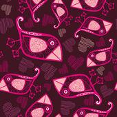 Vektor seamless mönster med tecknade fåglar och hjärtan — Stockvektor