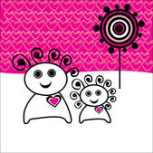 Love concept, cartoon couple with background made of hearts — Stock Vector