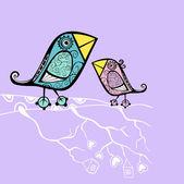 Cartoon birds sitting on the branch — Stock Vector