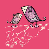 Kreslený ptáci sedící na větvi — Stock vektor