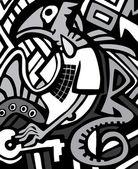 Vector graffiti schets met dragon — Stockvector
