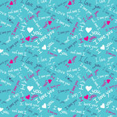 'I love you' seamless pattern with cute hearts and hand-drawn butterflies — Stock Vector