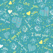 Romantic seamless pattern with hearts and butterflies — Vector de stock