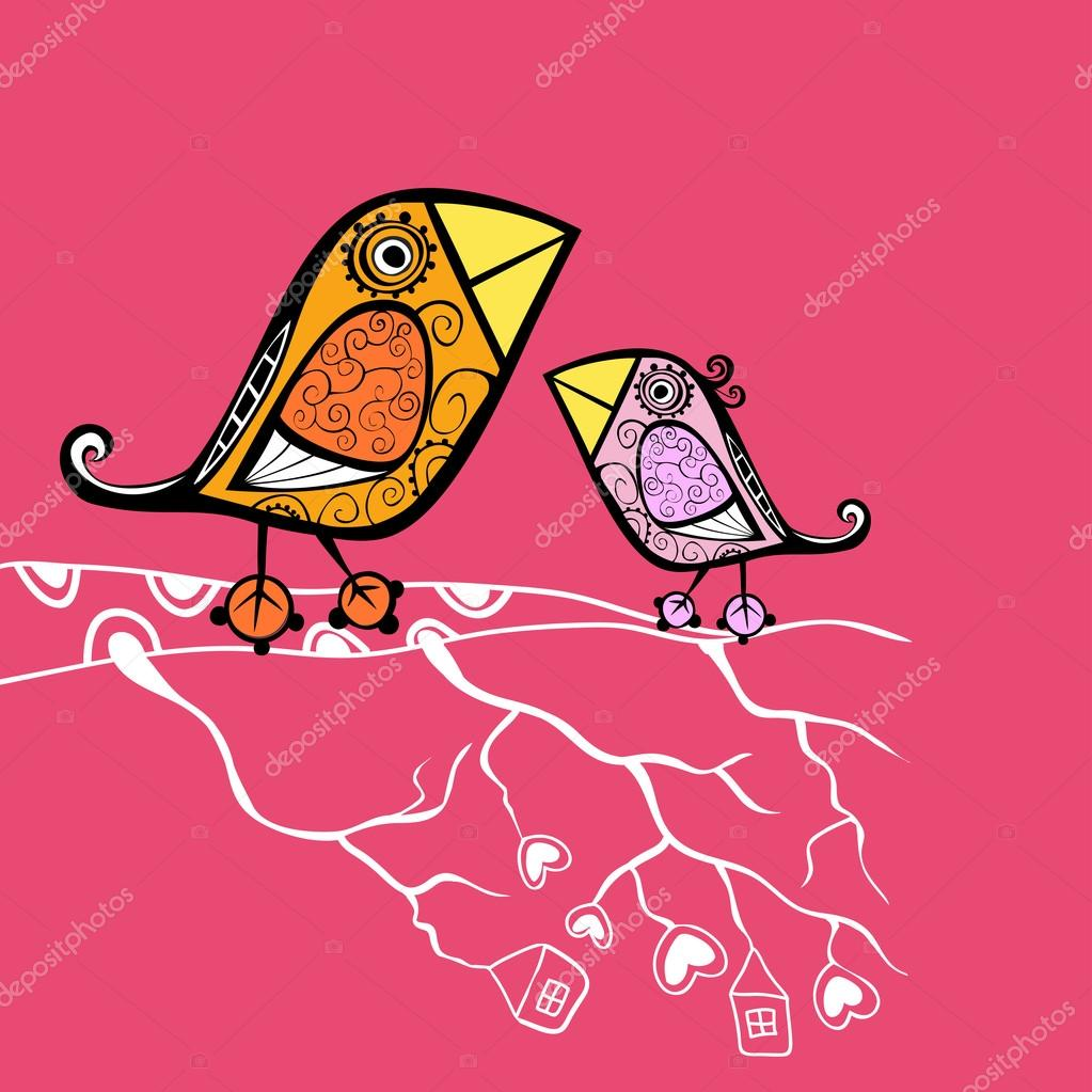 Cartoon birds sitting on the branch — Stock Vector #21236249