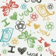 'I love you' pattern with stylized bird, butterfly and flower — Stockvector