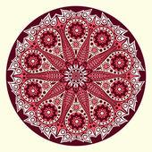 Ornamento indiano, motivo floreale caleidoscopico, mandala. — Vettoriale Stock
