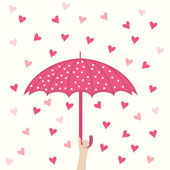 Umbrella and hearts rain — Stock Vector