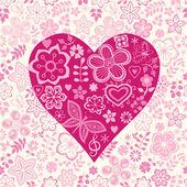 Шаблон с сердца и цветы — Cтоковый вектор