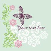 Fondo floral con mariposa — Vector de stock