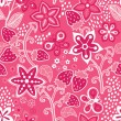 Floral seamless texture with a strawberry. - Stock Vector