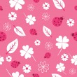 Pattern with flowers and ladybirds in pink — Grafika wektorowa
