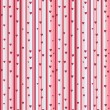 Stripy seamless pattern with heart in pink — Stock Vector
