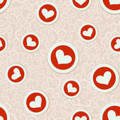 Romantic seamless pattern with hearts — ストックベクタ