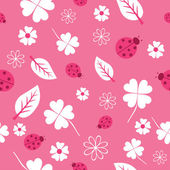 Pattern with flowers and ladybirds in pink — Stock Vector