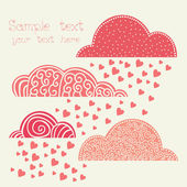 Rain of heart with clouds in pink — Vector de stock