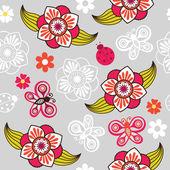 Текстуры с цветами и бабочками — Cтоковый вектор