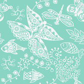 Texture with fish and butterfly — Stock Vector