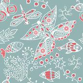 Texture con pesce e farfalla — Vettoriale Stock