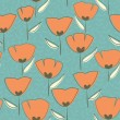 Seamless tulip floral pattern — Stock Vector