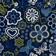 Vector de stock : Floral seamless pattern with flowers and butterflies.