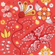Texture with flowers and butterflies on red. — Stock Vector