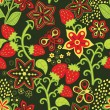 Floral Seamless Texture with a Strawberry — Stockvektor