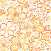 Floral seamless pattern with flowers and butterflies — Stok Vektör