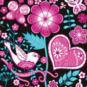 Doku çiçekler, kuşlar ve kelebekler — Stok Vektör