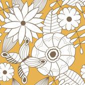 Floral pattern sans couture avec fleurs et papillons — Vecteur
