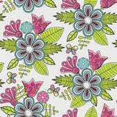 Naadloze bloemmotief met bloemen en vlinders — Stockvector