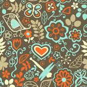 Cartoon smidig konsistens med blommor, dragonfly och fågel. — Stockvektor