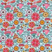 花朵与蝴蝶的无缝纹理. — 图库矢量图片